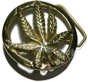 Cannabis Leaf Solid Brass Belt Buckle + display stand. Code HK3